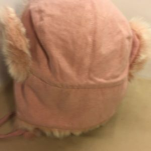 scala accessories suede looking hat with fake fury tan and pink